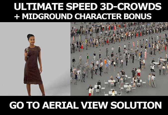 3d crowds and May Midground Champagne Elegant African Woman