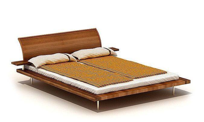 3d Model Modern Wooden Bed Cgtrader