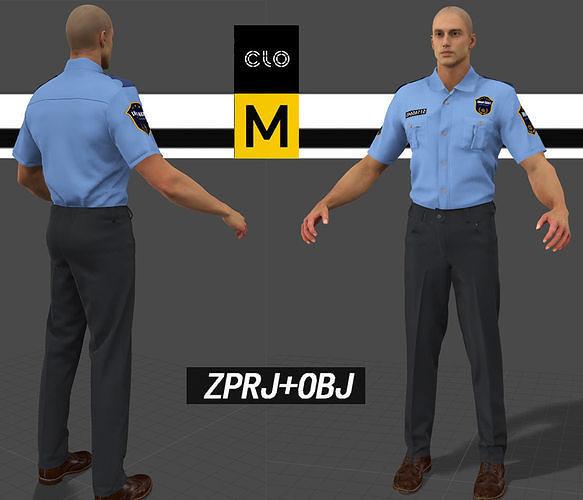 Police uniform set Marvelous designer 3D model