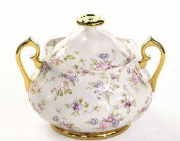 Floral Porcelain Sugar Bowl 3D model