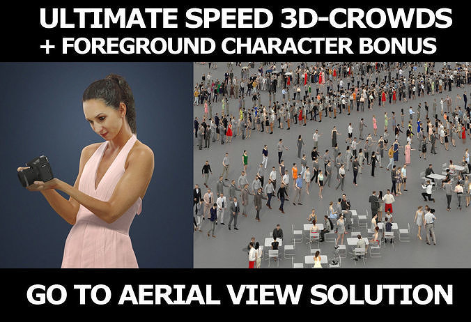 3d crowds and Mirage Foreground Summer Woman Camera