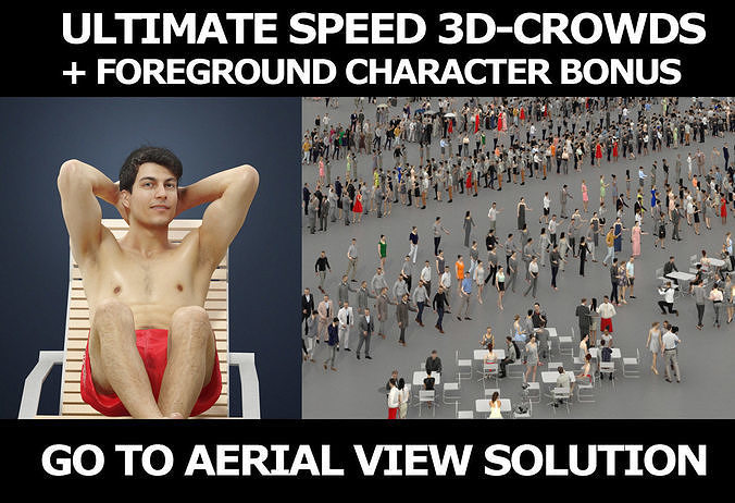 3d crowds and Prime A foreground sitting Beach Man Swimsuit