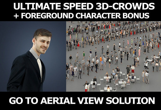 3d crowds and Posture a Foreground Elegant Business Man