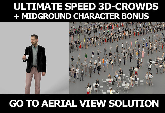 3d crowds and Portrait a midground Smart Casual Man coffee