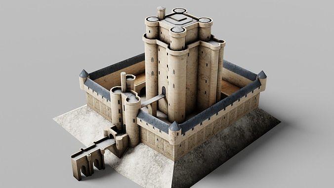 Chateau de Vincennes Castle France PBR Low-poly 3D model