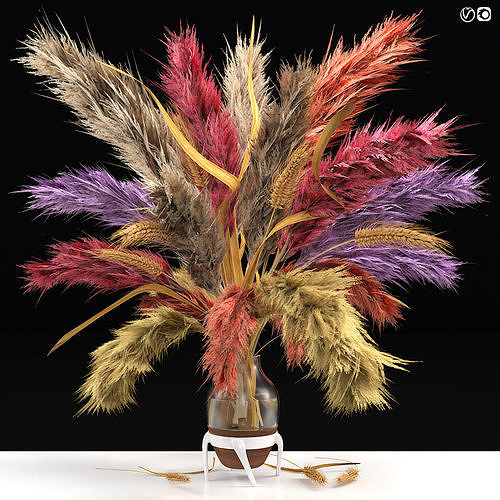 Vase of color pampas grass and Wheat