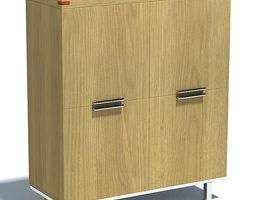 3d model wooden file cabinet