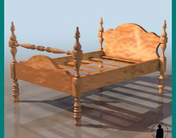 SINGLE LOW POST BED 3D Model
