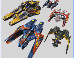 Low Poly SciFi Fighters 3D Model