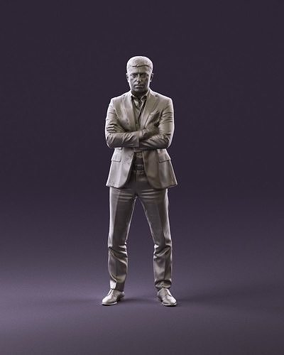 001027 man in close pose in blue square suit 3D Print Ready