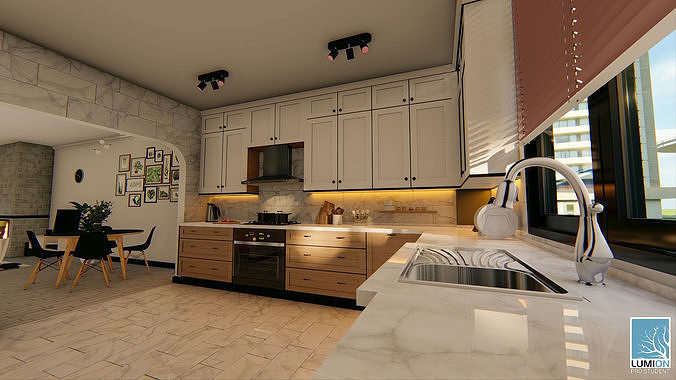 American Kitchen and Living Room