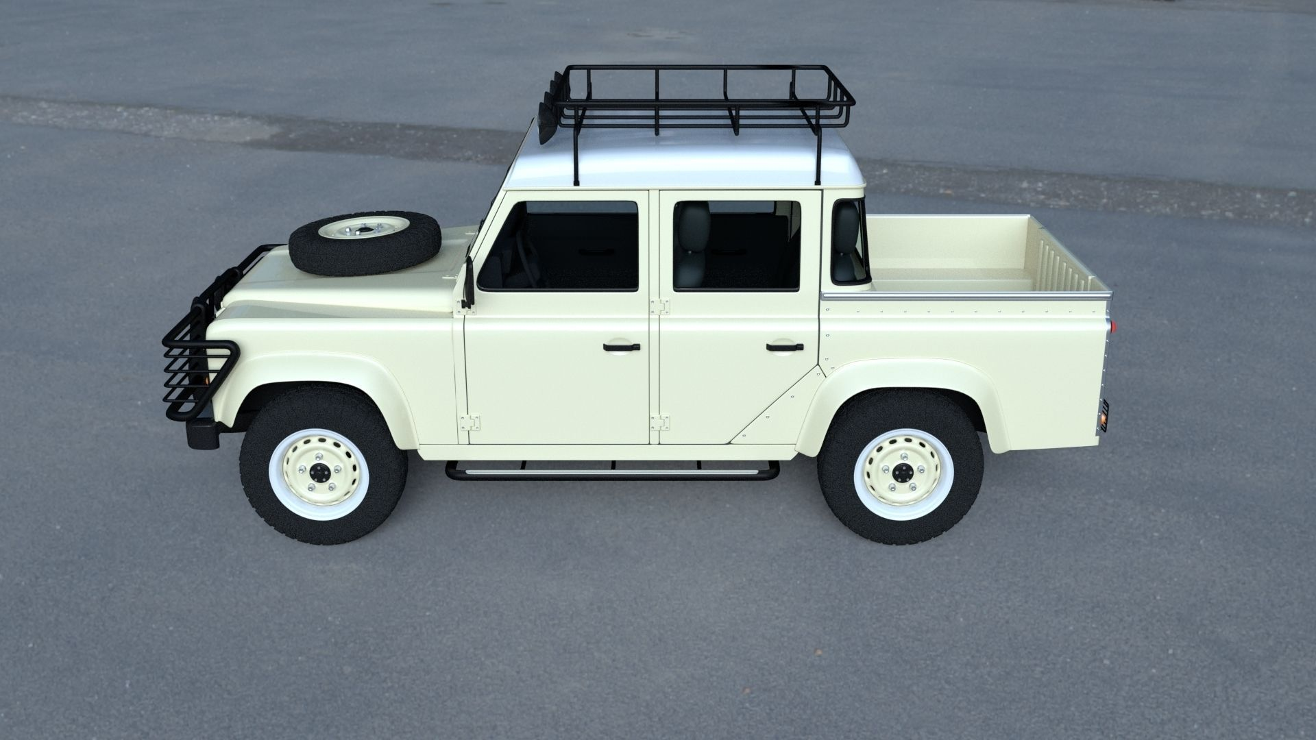 land rover defender 110 double cab pick up w interior hdri 3d model obj fbx stl blend dae mtl. Black Bedroom Furniture Sets. Home Design Ideas