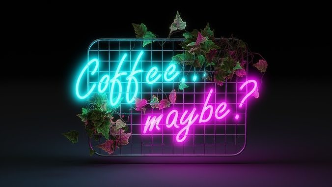 Neon sign coffee maybe