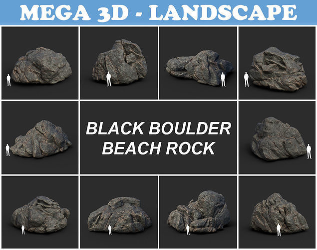 Black Boulder Beach Rock Collection 210731