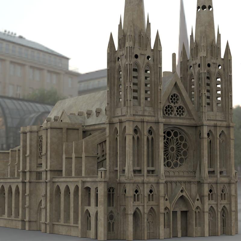 clermont cathedral 3d model max obj. Black Bedroom Furniture Sets. Home Design Ideas