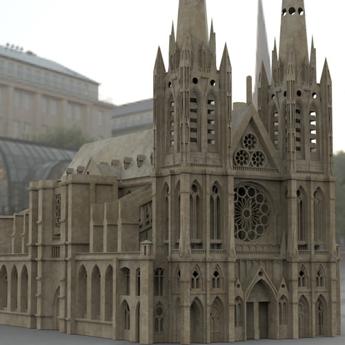 clermont cathedral 3d model max obj