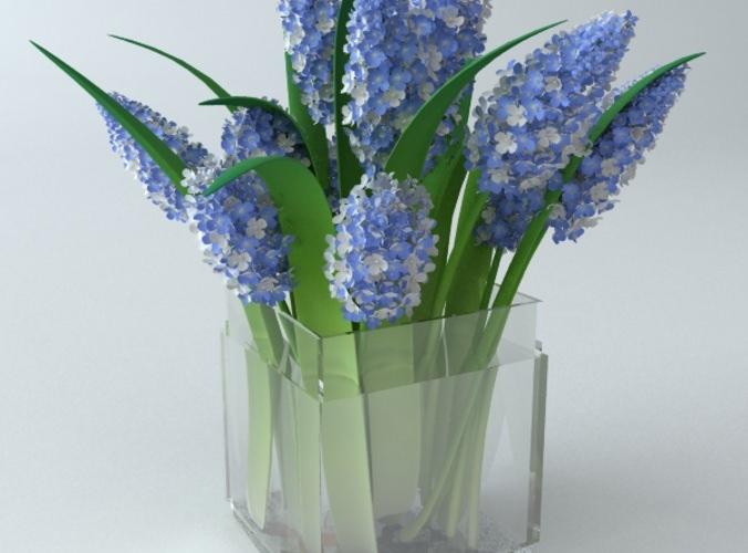 Lilac Bouquet in Glass Vase3D model