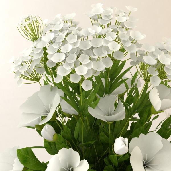 3D model White Flower Bouquet in Vase | CGTrader
