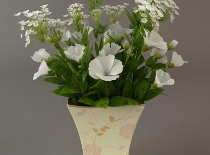 White Flower Bouquet in Vase3D model