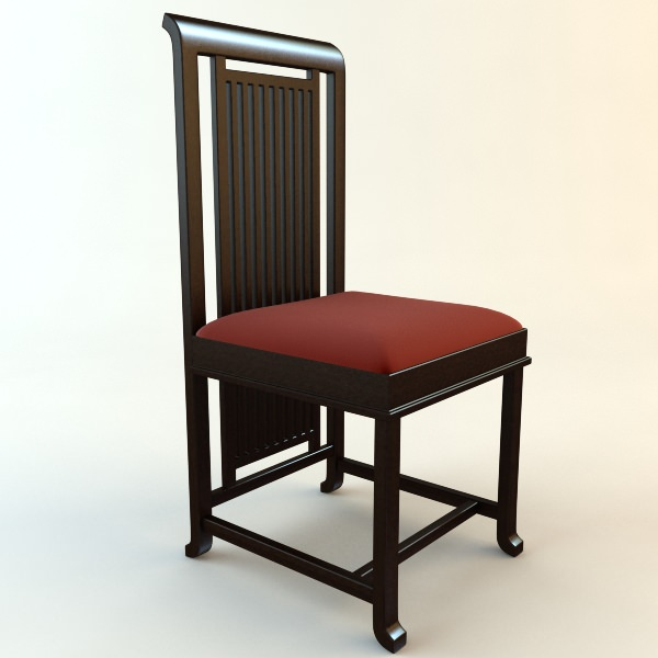 frank lloyd wright coonley large chair 3d model max obj 3ds mtl 2