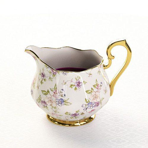 detailed porcelain jug with flowery design 3d model obj 1