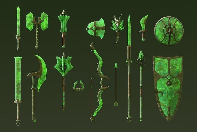 Fantasy Jade Weapon Set