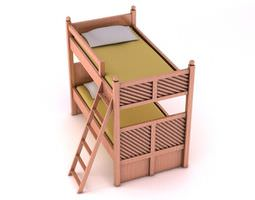 pink wooden bunk bed 3d