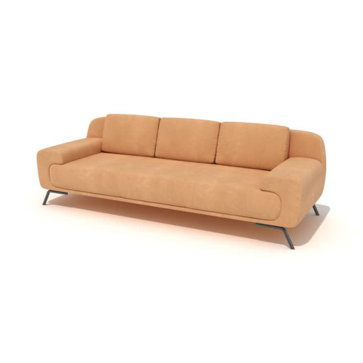 Orange suede modern couch 3d model for Suede furniture