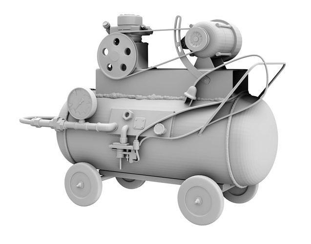 Printable miniature old vintage handmade air compressor tool