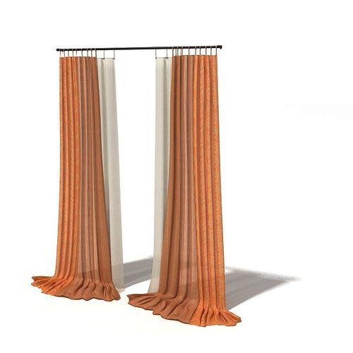 large window curtains 3d model 1