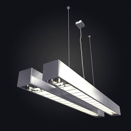 Industrial Ceiling Light 3ds Max: 3D Hanging Tube Light