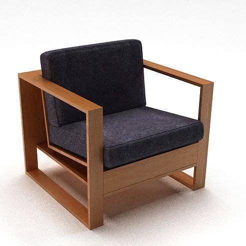Wooden Cushion Modern Chair Armrest 3d Model Cgtrader