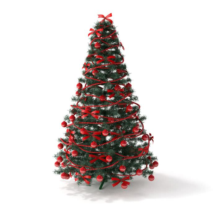 Decorated christmas tree 3d model for 3d model decoration