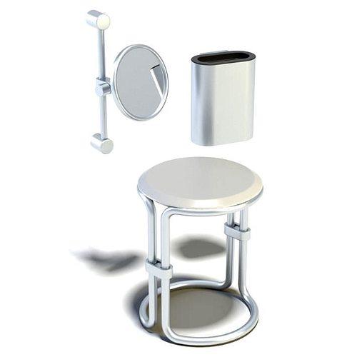 chrome bathroom set chair mirror 3d model  1
