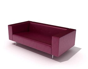 Burgundy Leather Modern Couch 3D model