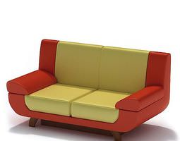 3D Red And Yellow Modern Couch