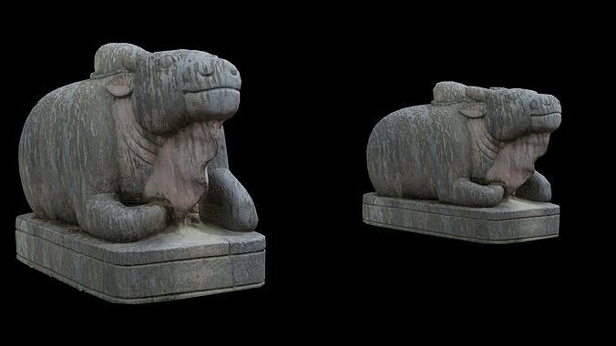 Ox statue with 3 LOD - Nepal Heritage