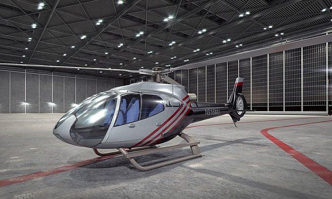 modern gray helicopter 3d model obj 1