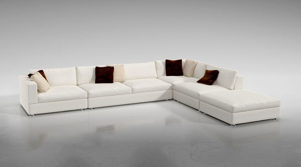 White L Shaped Sofa 3d Model