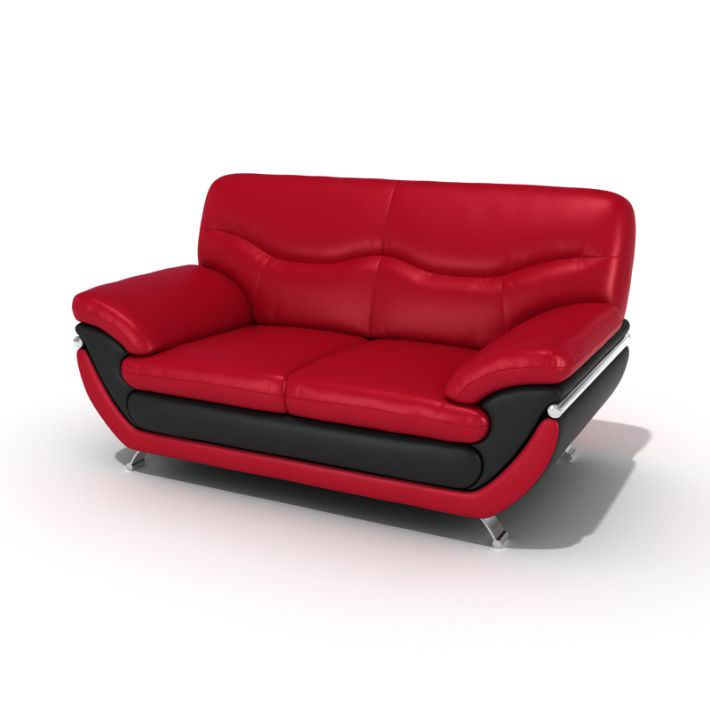 Red And Black Leather Sofa 3d Model