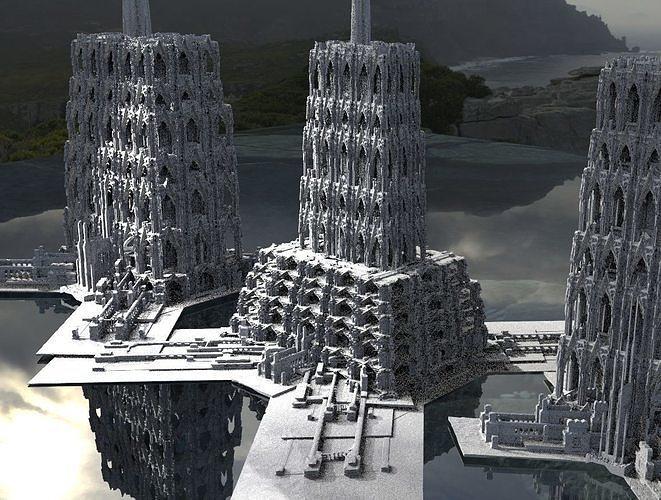 Fantasy gothic towers surreal Kitbash