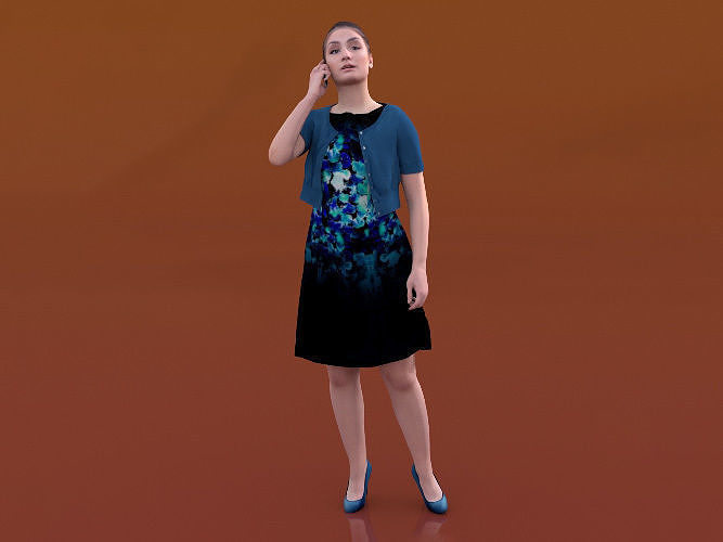 Sheona 20448-07 - Animated Woman Talking On Phone