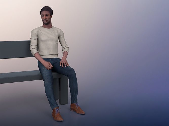 Bruce 20376-14 - Animated Black Man Sitting And Standing Up