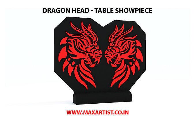 Dragon Face Table Statue Sculpture Model