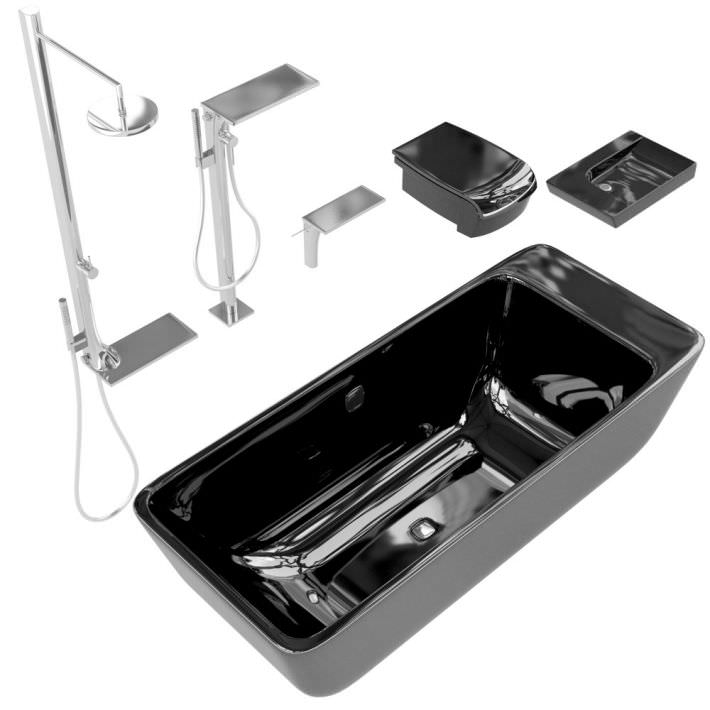 black and silver bathroom accessories 3d model