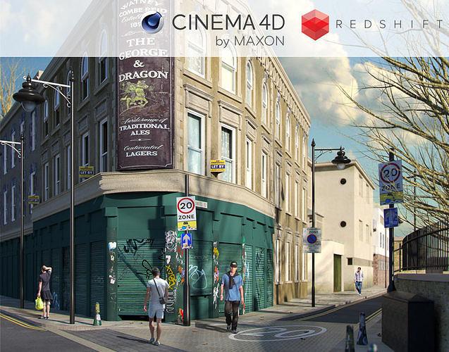 Redshift - C4D Scene files - Old London Pub Exterior