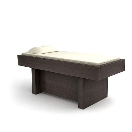 retro wooden beauty parlor massage table 3d model obj 1
