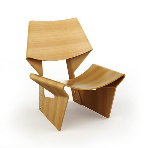 Modern Wooden Chair 3d Model Obj