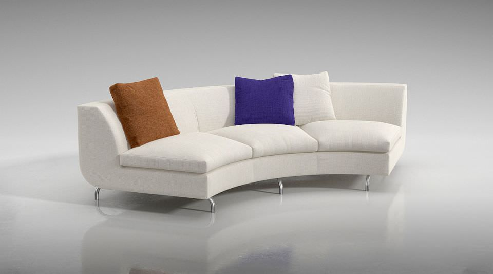 White Quarter Circle Couch With Pillows Model Obj Mtl 1
