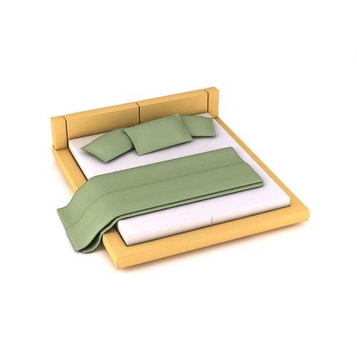 3d model light wood bed frame cgtrader. Black Bedroom Furniture Sets. Home Design Ideas